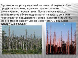 В условиях запуска у пусковой системы образуется облако продуктов сгорания, в