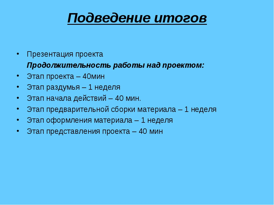 Подведение итогов Презентация проекта Продолжительность работы над проектом:...