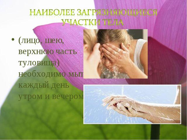 (лицо, шею, верхнюю часть туловища) необходимо мыть каждый день утром и вечер...