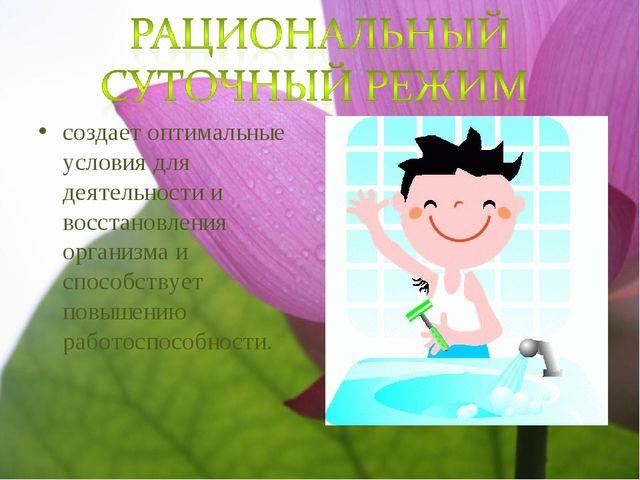 создает оптимальные условия для деятельности и восстановления организма и спо...