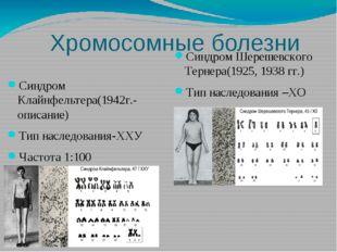 Хромосомные болезни Синдром Клайнфельтера(1942г.-описание) Тип наследования-Х