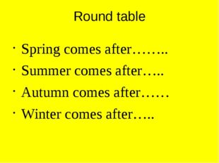 Round table Spring comes after…….. Summer comes after….. Autumn comes after……