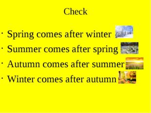 Check Spring comes after winter Summer comes after spring Autumn comes after