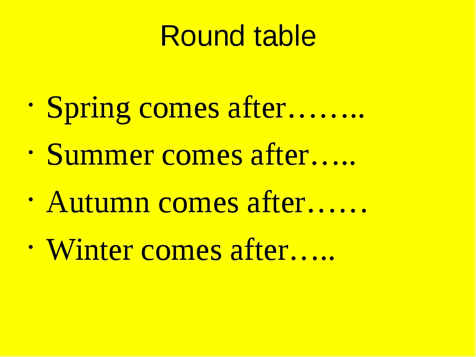 Round table Spring comes after…….. Summer comes after….. Autumn comes after……...