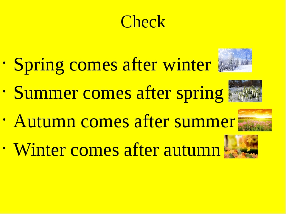 Check Spring comes after winter Summer comes after spring Autumn comes after...