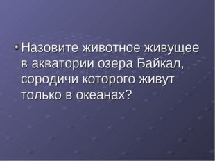 Назовите животное живущее в акватории озера Байкал, сородичи которого живут т