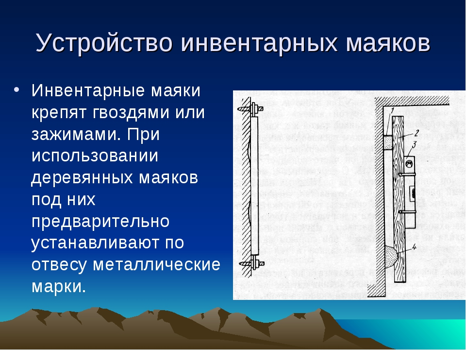 Устройство инвентарных маяков Инвентарные маяки крепят гвоздями или зажимами....