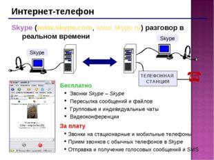Интернет-телефон Skype (www.skype.com, www.skype.ru) разговор в реальном врем