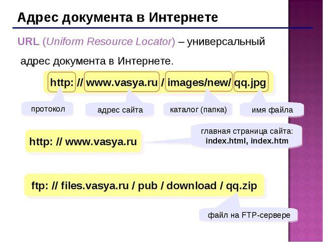 Адрес документа в Интернете URL (Uniform Resource Locator) – универсальный ад...