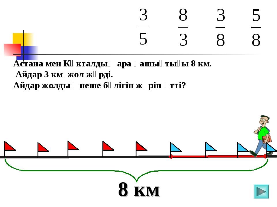 Астана мен Көкталдың ара қашықтығы 8 км. Айдар 3 км жол жүрді. Айдар жолдың н...