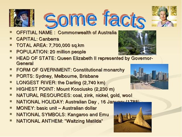 OFFITIAL NAME : Commonwealth of Australia CAPITAL: Canberra TOTAL AREA: 7,70...