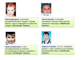Женя Давыдов, 9 месяцев, врожденный порок сердца, тетрада Фалло, спасет опера