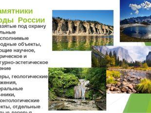 Памятники природы России Это взятые под охрану отдельные невосполнимые природ