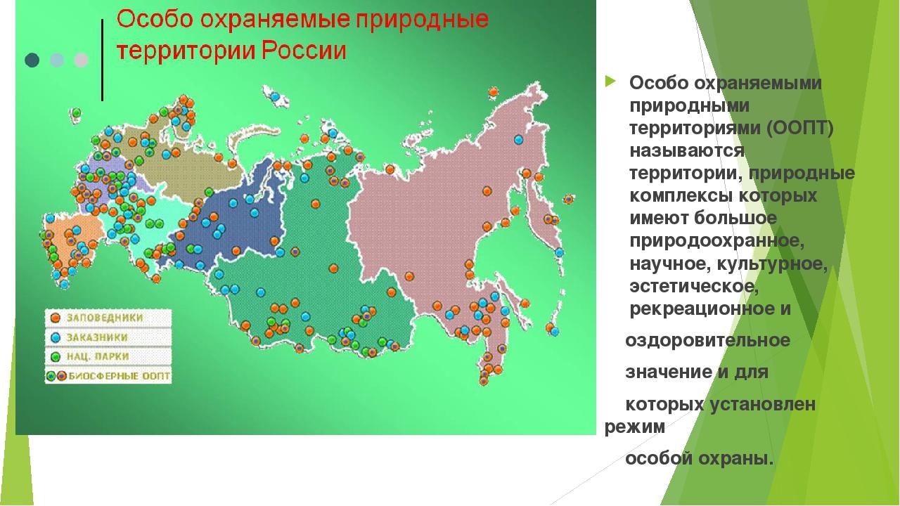 Особо охраняемыми природными территориями (ООПТ) называются территории, прир...
