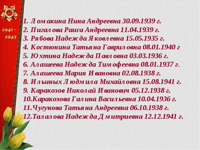 Ломакина Нина Андреевна 30.09.1939 г. Пигалова Раиса Андреевна 11.04.1939 г....
