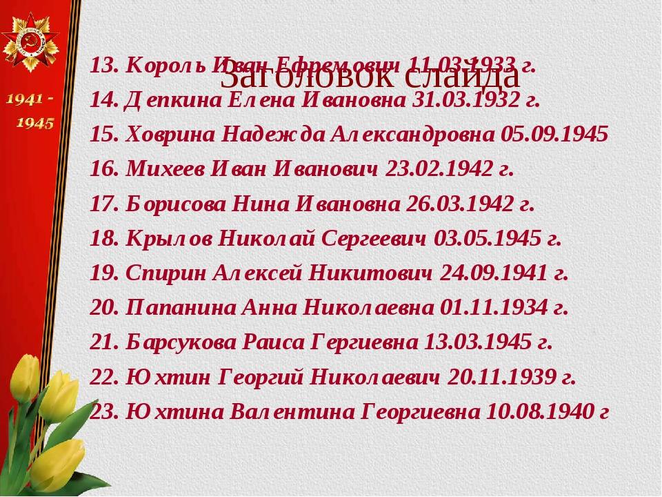 Заголовок слайда 13. Король Иван Ефремович 11.03.1933 г. 14. Депкина Елена Ив...