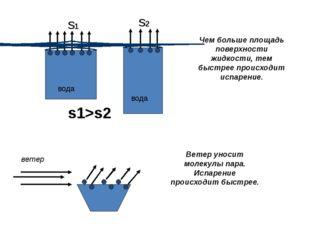 вода вода Чем больше площадь поверхности жидкости, тем быстрее происходит ис