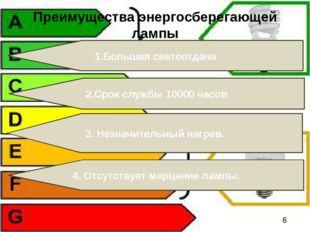 1.Большая светоотдача Преимущества энергосберегающей лампы 2.Срок службы 1000