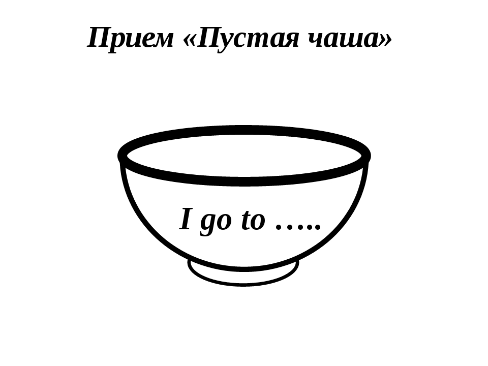 Прием «Пустая чаша» I go to …..