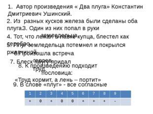 1. Автор произведения « Два плуга» Константин Дмитриевич Ушинский. 2. Из раз