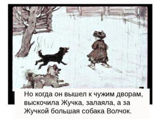Но когда он вышел к чужим дворам, выскочила Жучка, залаяла, а за Жучкой боль