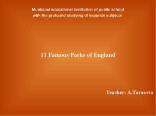 Municipal educational institution of public school with the profound studyin
