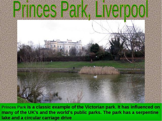 Princes Park is a classic example of the Victorian park. It has influenced on...