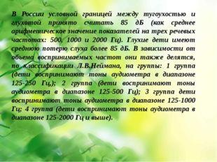 В России условной границей между тугоухостью и глухотой принято считать 85 д