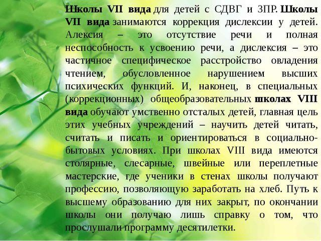 Школы VII видадля детей с СДВГ и ЗПР.Школы VII видазанимаются коррекция д...