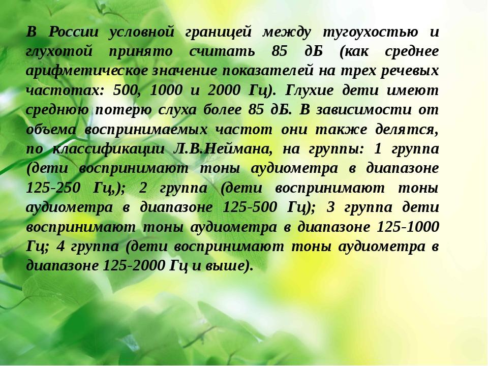 В России условной границей между тугоухостью и глухотой принято считать 85 д...