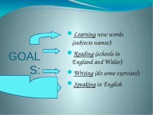 GOALS: Learning new words (subjects names); Reading (schools in England and W