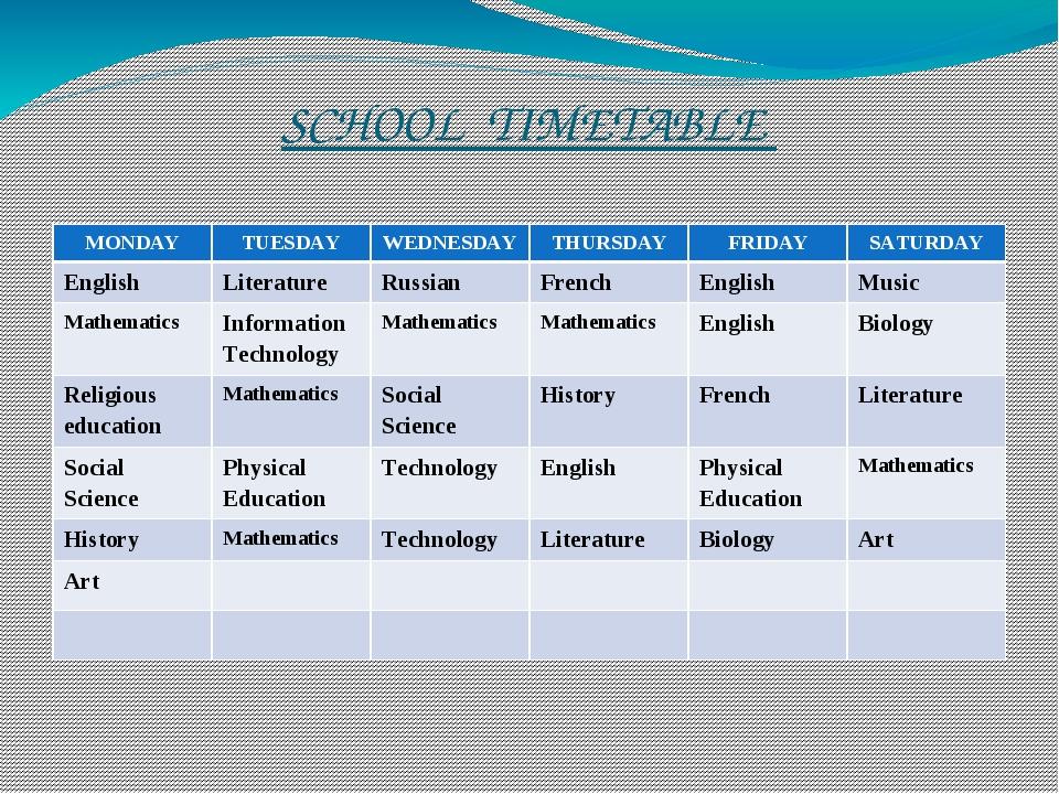 SCHOOL TIMETABLE MONDAY TUESDAY WEDNESDAY THURSDAY FRIDAY SATURDAY English Li...