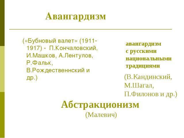 Авангардизм («Бубновый валет» (1911-1917) - П.Кончаловский, И.Машков, А.Ленту...