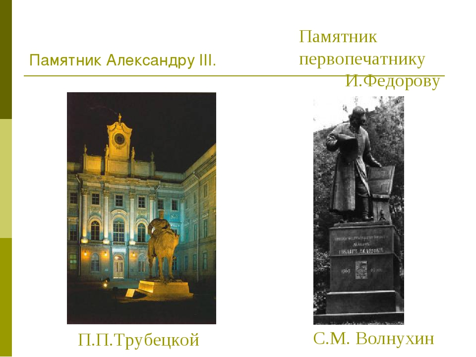 Памятник Александру III. П.П.Трубецкой Памятник первопечатнику И.Федорову С.М...