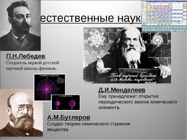 естественные науки П.Н.Лебедев Создатель первой русской научной школы физиков...