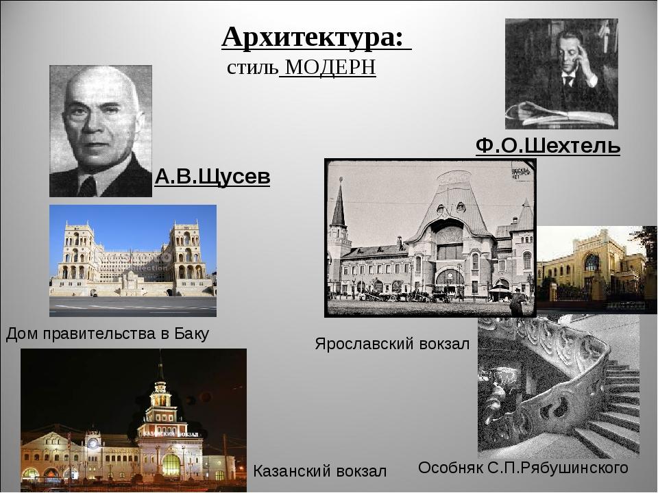 Архитектура: стиль МОДЕРН А.В.Щусев Ф.О.Шехтель Дом правительства в Баку Каза...