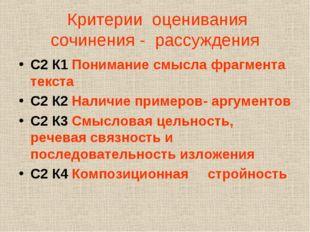 Критерии оценивания сочинения - рассуждения С2 К1 Понимание смысла фрагмента