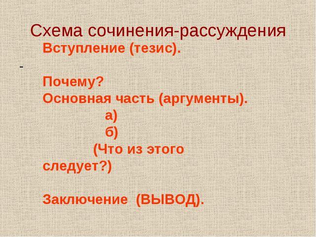 Схема сочинения-рассуждения - Вступление (тезис). Почему? Основная часть (арг...