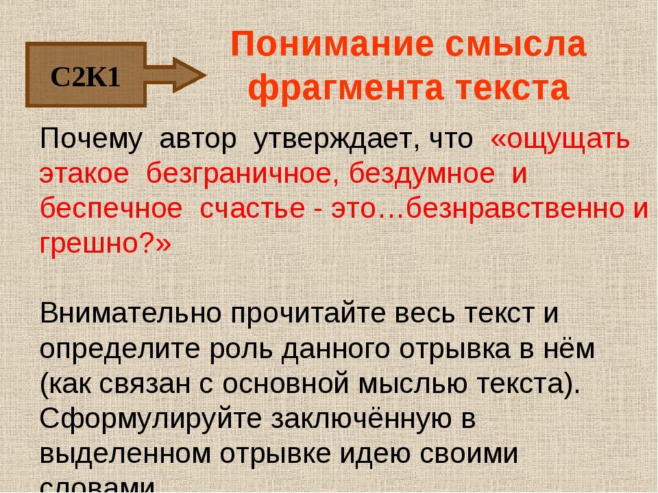 Понимание смысла фрагмента текста Почему автор утверждает, что «ощущать этако...
