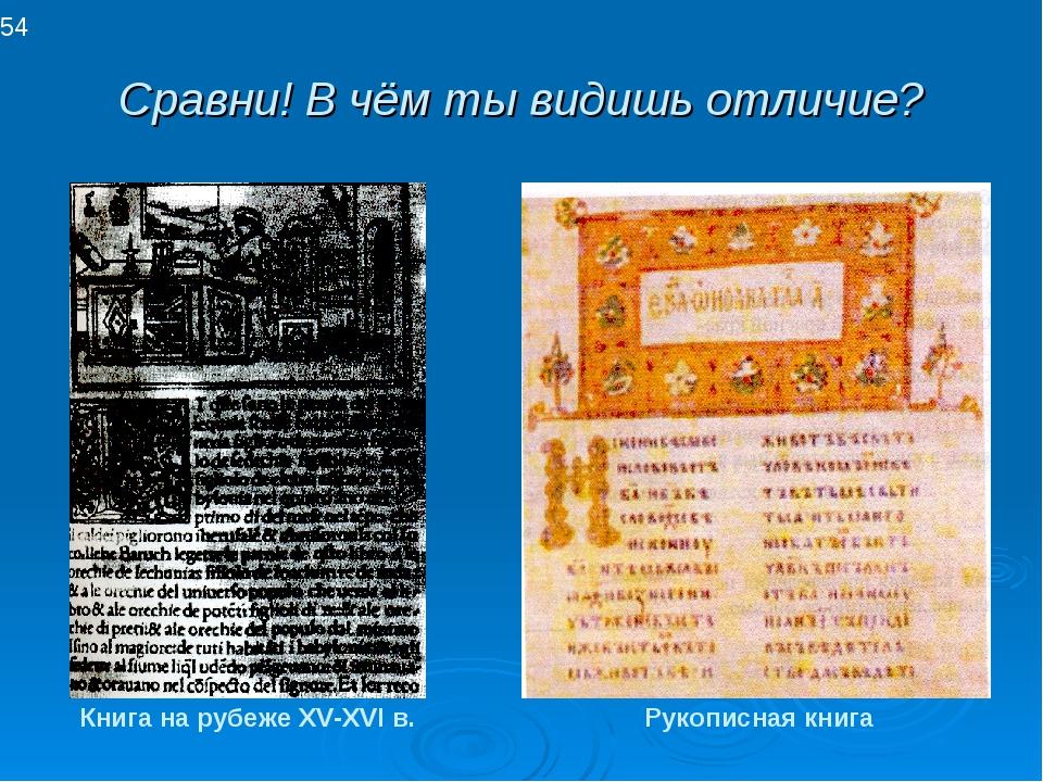 Сравни! В чём ты видишь отличие? Рукописная книга Книга на рубеже XV-XVI в. 54