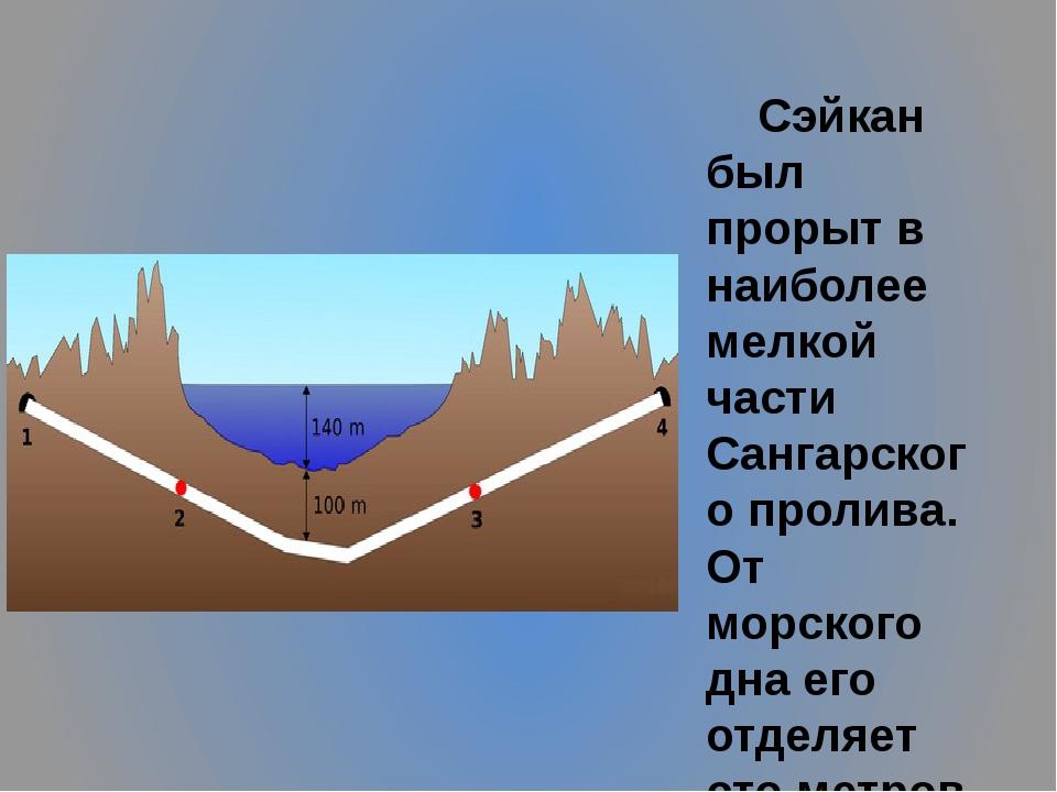 Сэйкан был прорыт в наиболее мелкой части Сангарского пролива. От морского д...
