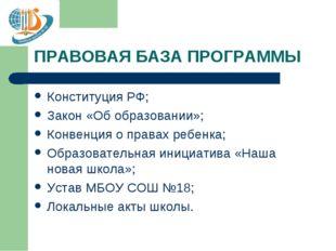 ПРАВОВАЯ БАЗА ПРОГРАММЫ Конституция РФ; Закон «Об образовании»; Конвенция о п