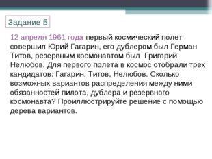 12 апреля 1961 года первый космический полет совершил Юрий Гагарин, его дубле