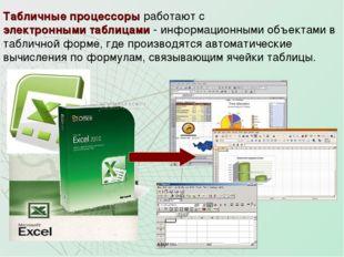 Табличные процессоры работают с электронными таблицами - информационными объе