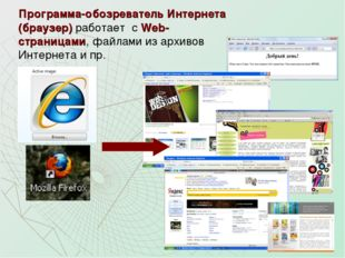 Программа-обозреватель Интернета (браузер) работает с Web-страницами, файлами