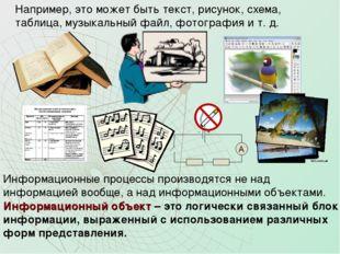 Например, это может быть текст, рисунок, схема, таблица, музыкальный файл, фо