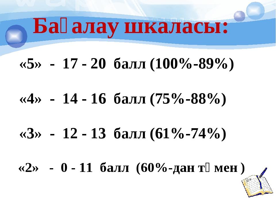 «5» - 17 - 20 балл (100%-89%) «4» - 14 - 16 балл (75%-88%) «3» - 12 - 13 бал...