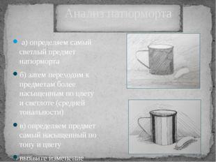 Анализ натюрморта а) определяем самый светлый предмет натюрморта б) затем пе