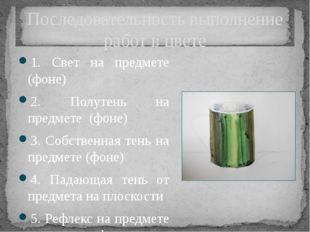 Последовательность выполнение работ в цвете 1. Свет на предмете (фоне) 2. Пол