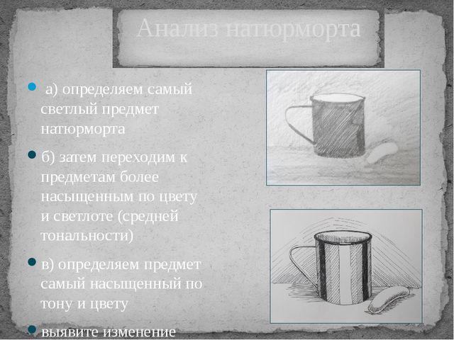 Анализ натюрморта а) определяем самый светлый предмет натюрморта б) затем пе...